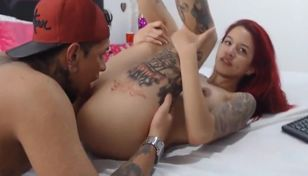 Stunner With Tat Banging With inked Bf