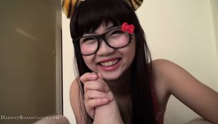 Japanese young lady gives a bj in..