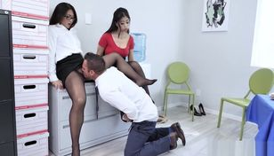 Warm office Threeway with Nyomi..