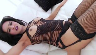 Glamorous asian TS roughly fishnet..